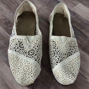 Toms Alpargata Moroccan Crochet Lace Flats Shoes